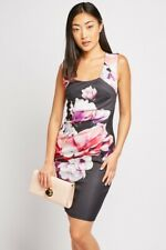 Ladies. Black Floral Print Stretch Bodycon Midi Dress. .Size 8-10.12-14.16-18.