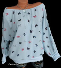 TUNIKA BLUSE Carmenshirt Chiffon + Untertop Hellblau mit Schmetterlinge 42 44 46
