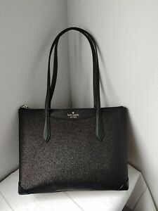 NWT Kate Spade New York Large Glitter Fabric Tote in Black
