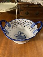 Delft Ware~Porcelain & Blue Hand Painted Reticulated Handled Dish~Windmill~Gift