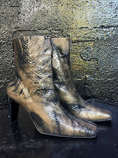 RUSSEL & BROMLEY STUART WEITZMAN PATENT SNAKE SKIN HEELED ANKLE BOOTS US 8/UK 6