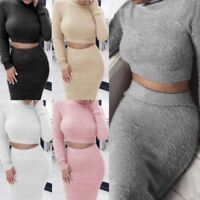 2Pcs Women's Crop Top & Skirt Set Bodycon Party Cocktail Knitted Sweater Dress