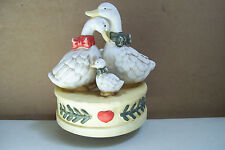 "Duck Swan Geese Bird & Chicks Music Box Made In Taiwan 6"" Tall 4"" Across Bottom"