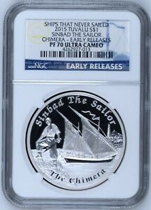 2015 ships that never sailed Sinbad Chimera silver proof 1 oz coin NGC PF 70