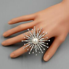Rhodium Plated Pearl Crystal Rhinestone Firework Adjustable Ring 00111 Flower
