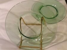 "Depression Glass Plate (2) Lunch Salad Shear Hunter Green 7-1/2"" w Vintage"
