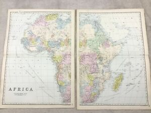 1891 Antique Map of Africa African Continent Old Original 19th Century Maps