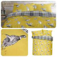 Fusion PICKERING Pheasant Print & Checked 100% Brushed Cotton Duvet Cover Set