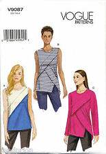 VOGUE SEWING PATTERN 9087 MISSES SZ 6-14 LOOSE-FITTING TOPS WITH BACK NECK SLIT