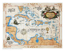 "19.5 x 25"" Caribbean Vintage Look Map Printed on Parchment Paper-GOLD"