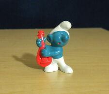 "Smurfs Red Lute Music Smurf Guitar Vintage PVC Figure Toy 2"" Figurine Lot 20013"
