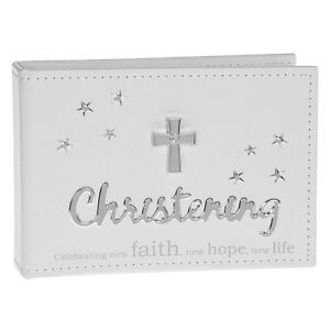 """White Leatherette Christening Photo Album 6x4"""" with silver cross design"""