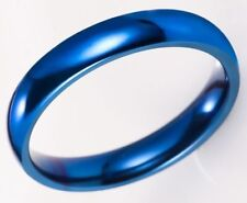 4mm Slim Band Size 12 Polished Titanium Stainless Steel Blue Ring USA SELLER