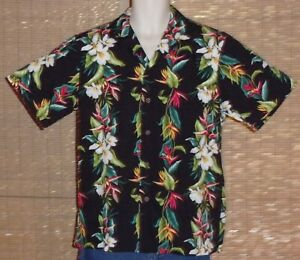 RJC Hawaiian Shirt Black Tropical Flowers Size Medium vintage