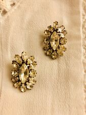 VINTAGE 70s Rhinestone Flower Large Stud Glam Chic Earrings