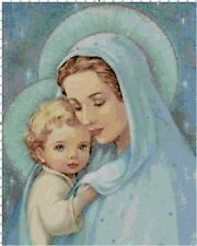 Mary and Baby Jesus in Blue DIGITAL Counted Cross-Stitch Pattern Needlepoint