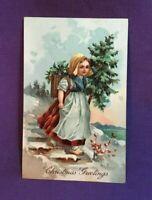 *Early Embossed Christmas Postcard CHRISTMAS GREETINGS