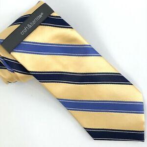 Croft & Borrow Designer Men's Tie 100% Silk Striped Gold Blue
