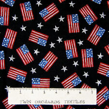 "Patriotic Fabric - American Flag & Star Toss - Cotton 30"""