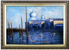 Framed Claude Monet View of Venice Repro, Hand Painted Oil Painting, 24x36in