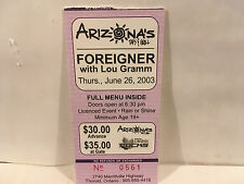 Foreigner Concert Ticket Stub 6-26-2003 Arizona's Saint Catharines ON
