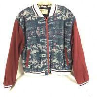 Free People Women's Bomber Jacket Size Large Varsity Chambray Print We The Free