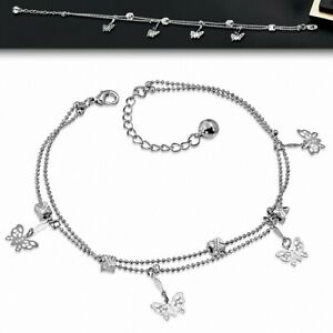 Bracelet Made Of Alloy Fashion Cube Beads Filigree Butterfly Double Sprig Jingle
