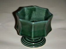 """HULL VINTAGE SMALL 8 SIDED GREEN 3.50"""" PLANTER POTTERY HIGH GLOSS IMPRESSED MARK"""