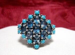 RSI 925 STERLING SILVER CLUSTER BLUE TOPAZ & TURQUOISE VINTAGE RING SIZE 11.25