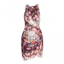 ZIMMERMANN Burgundy Brown Floral Tamer Sleeveless Drape Twist Dress Size 2