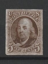 USA 1847 Scott # 1 brown fine MNG