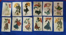 12 Antique Nebo Cigarettes Advertising Silks International Ladies & Flags