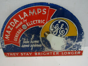 ANTIQUE MAZDA LAMPS GLASS ADVERTISING SIGN GENERAL ELECTRIC LIGHT BULB