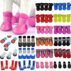 Pet Dog Non-Slip Socks Shoes Paw Winter Warm Comfy Rain Boots Wellies Outdoor