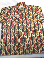 New (NO Tag) Mens Shirt Button Front Short Sleeve African Print Cotton 2 Pockets