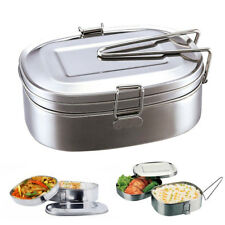 Large 2 Layer Portable Stainless Steel Square Food Container Bento Lunch Box