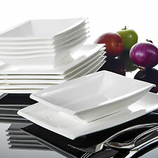 Malacasa Blance 12x Ceramic Crockery Soup Dinner Plate Set Kitchen Dinnerware