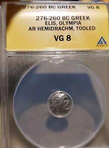 Ellis, Olympia.276-360 BC . Silver Hemidrachm - ANACS VG 8. Ancient Greek