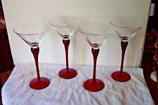 "4 Ruby Stem Clear Bowl 10"" Martini / Cocktail Glasses w/ Twist Stem"