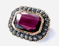 Antique French Silver Gold Marcasite Amethyst Paste Brooch GIFT BOXED