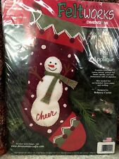 "Dimensions Christmas Stocking ""Snowman Cheer"" Kit # 8137 Felt Applique"