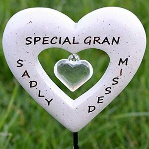 Sadly Missed Special Gran Love Heart Memorial Tribute Stick Graveside New Plaque