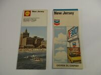 Lot of 2 1970's Chevron & Shell New Jersey Gas Station Travel Road Maps - BoxL5