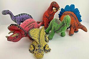 "RARE Vintage 90's Determined Productions Applause Dinosaur Plush Lot 6"""