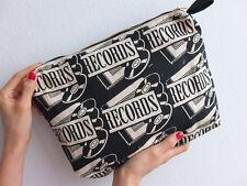 Pop Retro Art RECORDS pattern canvas clutch hand bag.