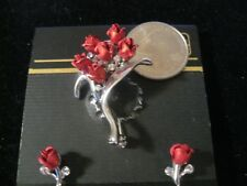 XMAS ROSES BROACH AND EARRINGS #2 / BROCHE Y ARETES DE ROSAS PARA NAVIDAD #2