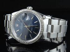 Original Rolex Date 15200 Oyster 34 MM Unisex Blue Dial Diamond Watch 1.95 Ct