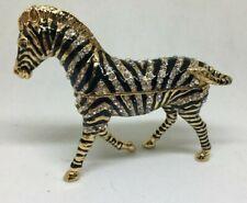 "Bejeweled Enameled Zebra Hinged Trinket Bx (3""H X 1.25""W X4""L)"