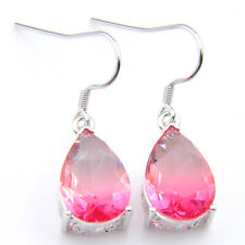 32.94 Cts Silver Pink Fire Topaz Gemstone Oval Charm Earrings Fashion Jewelry