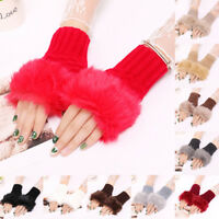 GI- KD_ Fashion Winter Women's Faux Fur Fingerless Gloves Warmer Knitted Mittens